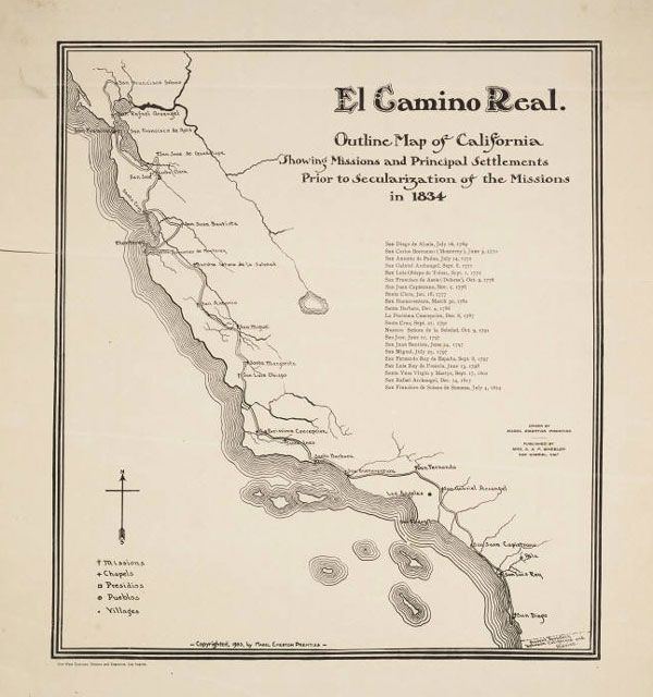 Circa 1903 map of El Camino Real Courtesy of the Young Research