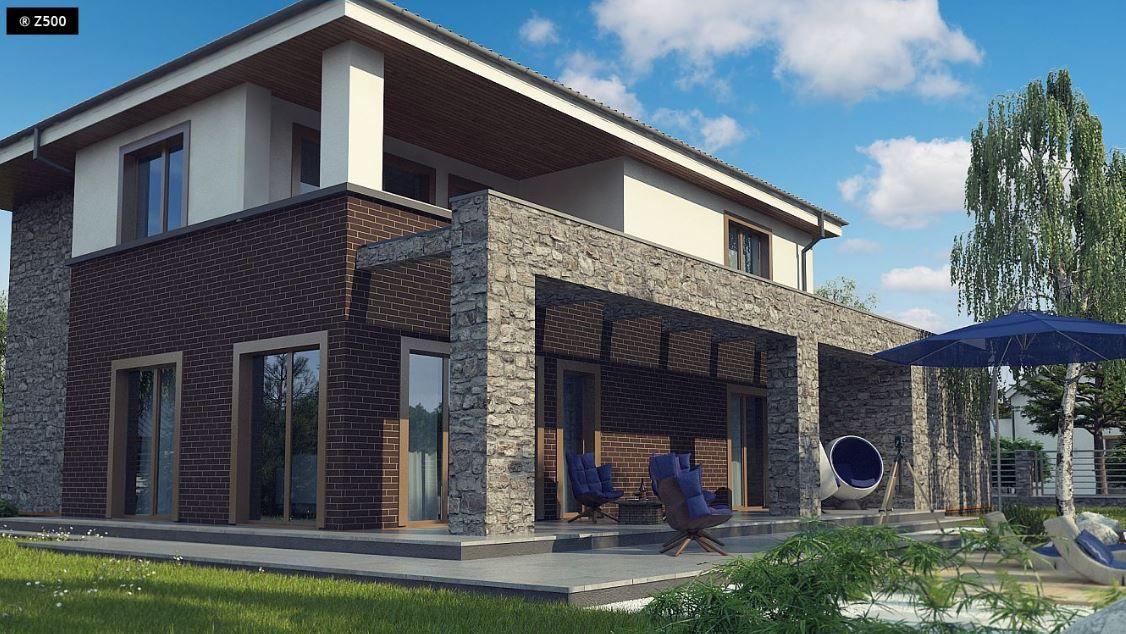 Fachada de casa moderna de dos pisos con piedra natural y ladrillos vistos mueble de tele en Catalogo de fachadas de casas