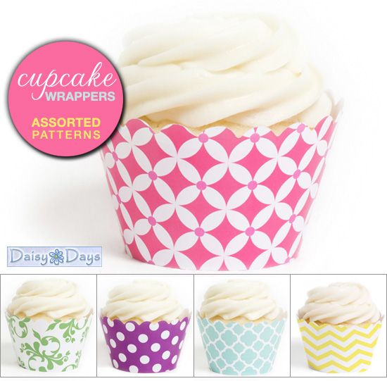 Cupcake wrappers..just drop your baked cupcakes into these chic holders for your dessert table..
