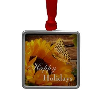 Happy Holidays Sunflower Christmas Ornament