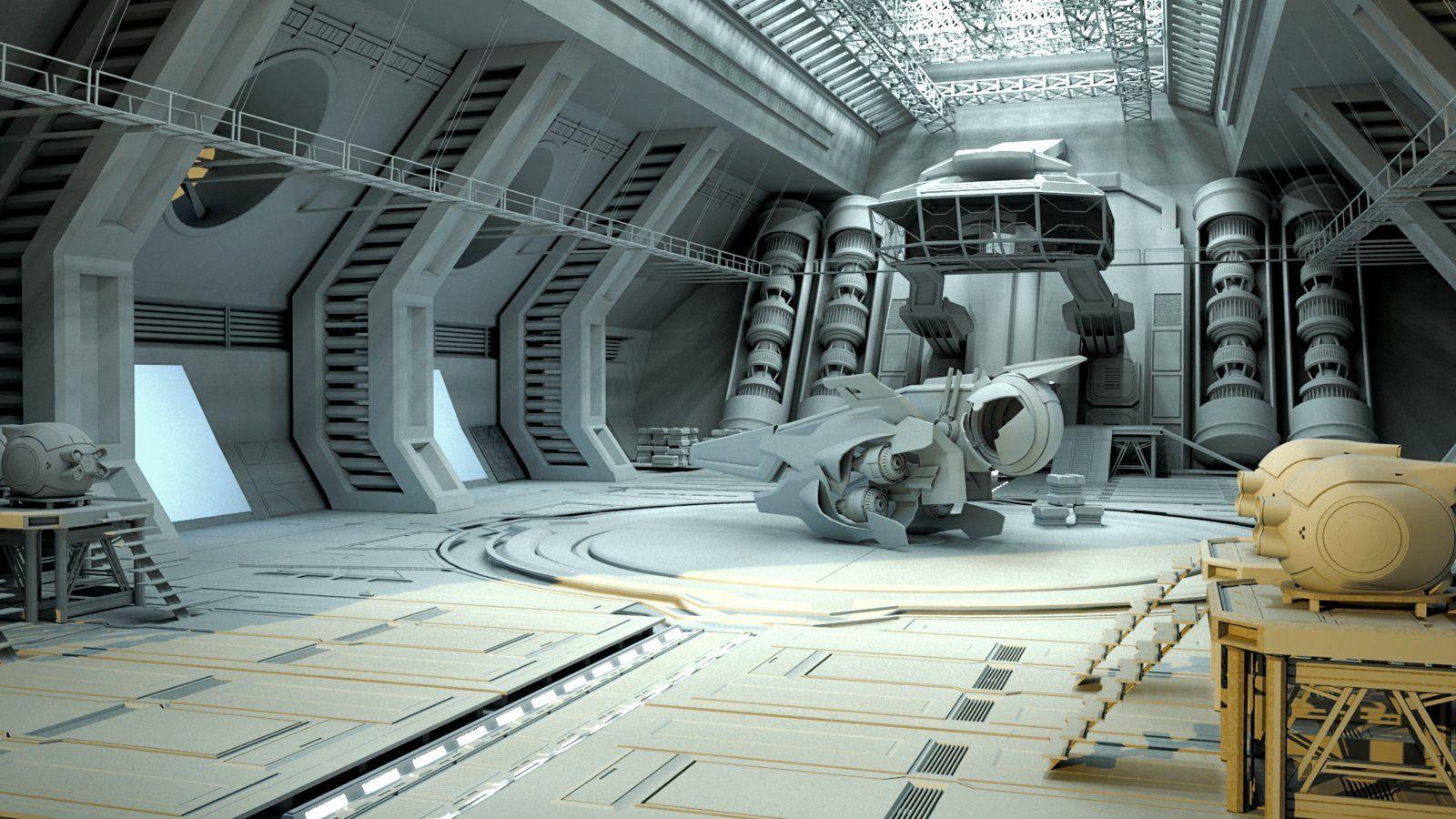 Sci fi hangar wip bosko ognjevic on artstation at https for Sci fi decor