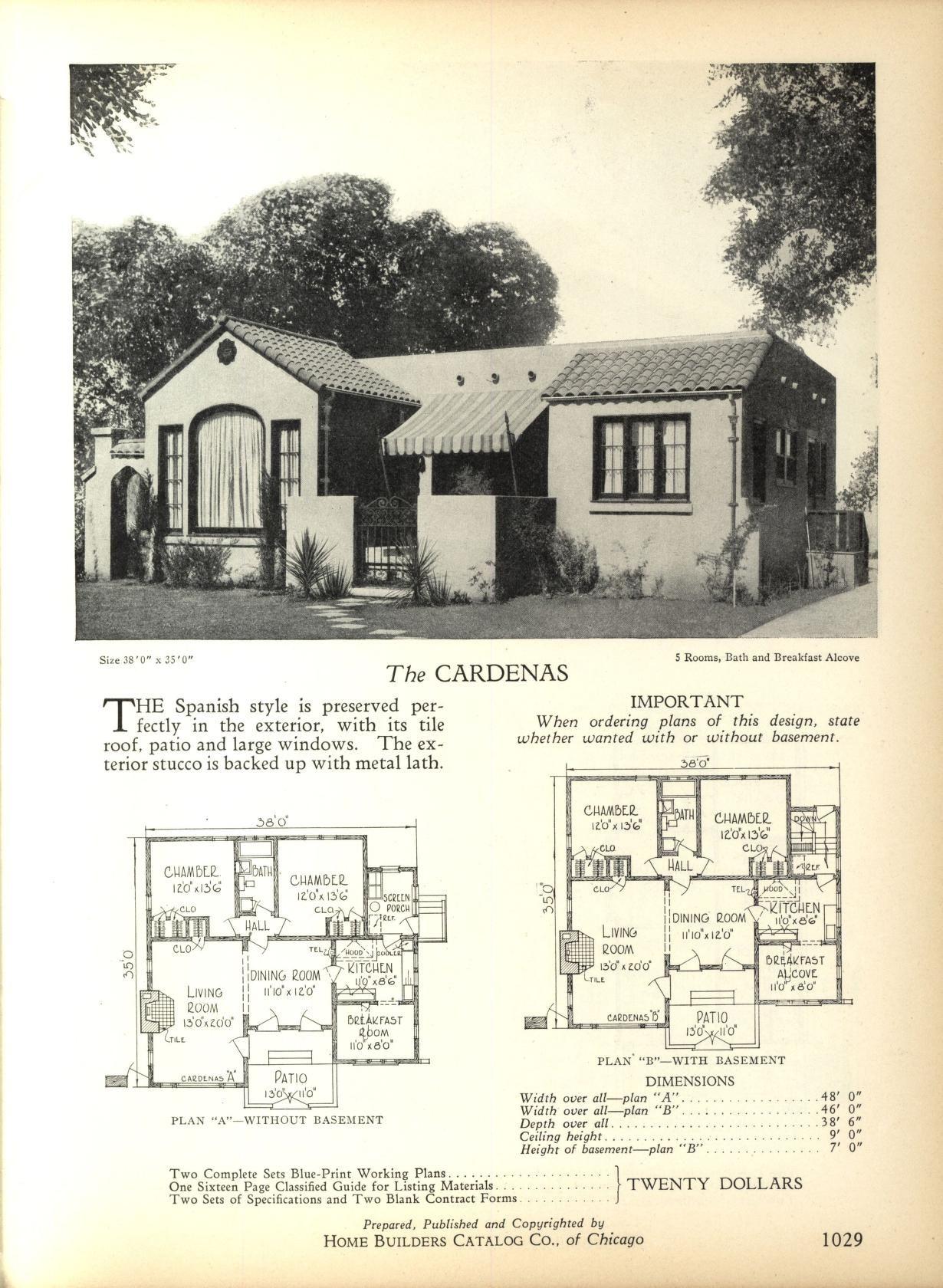 Http Www Artdecoresource Com 2014 01 Even More Art Deco House Plans Html Spanish Style Homes Bungalow Floor Plans Spanish Bungalow