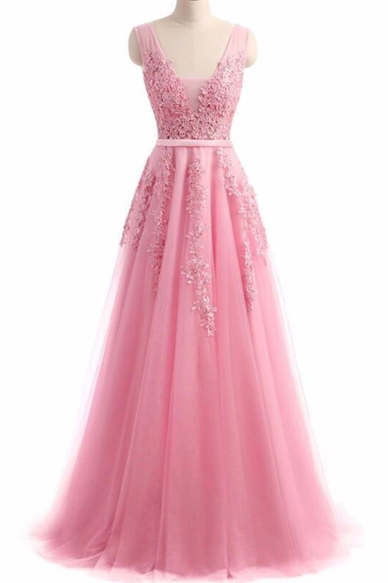 Pink lace appliqued chiffon prom dress, formal dress, long prom ...