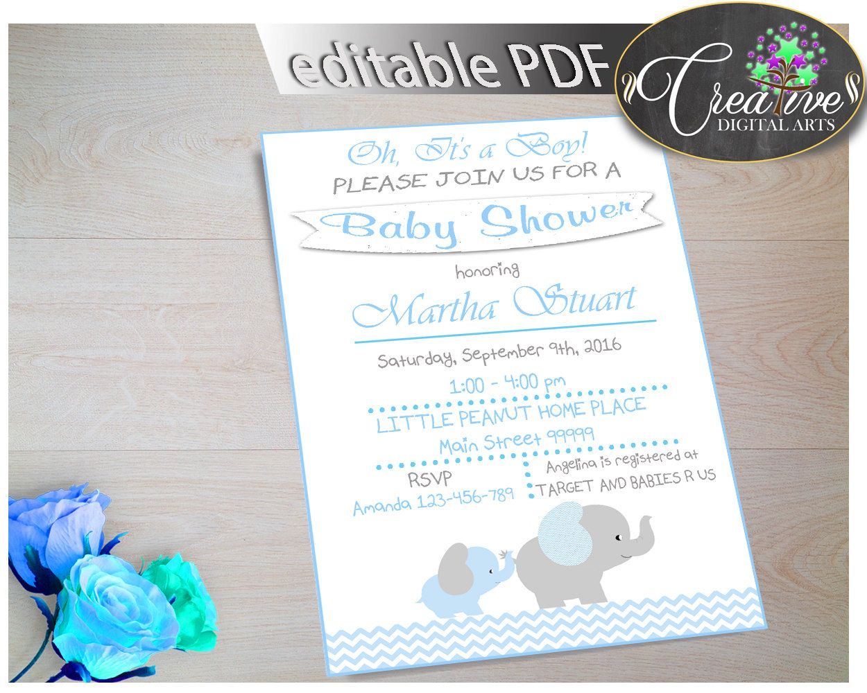 Baby Shower Invitation Boy Baby Shower Invitation Boy Elephant Baby ...