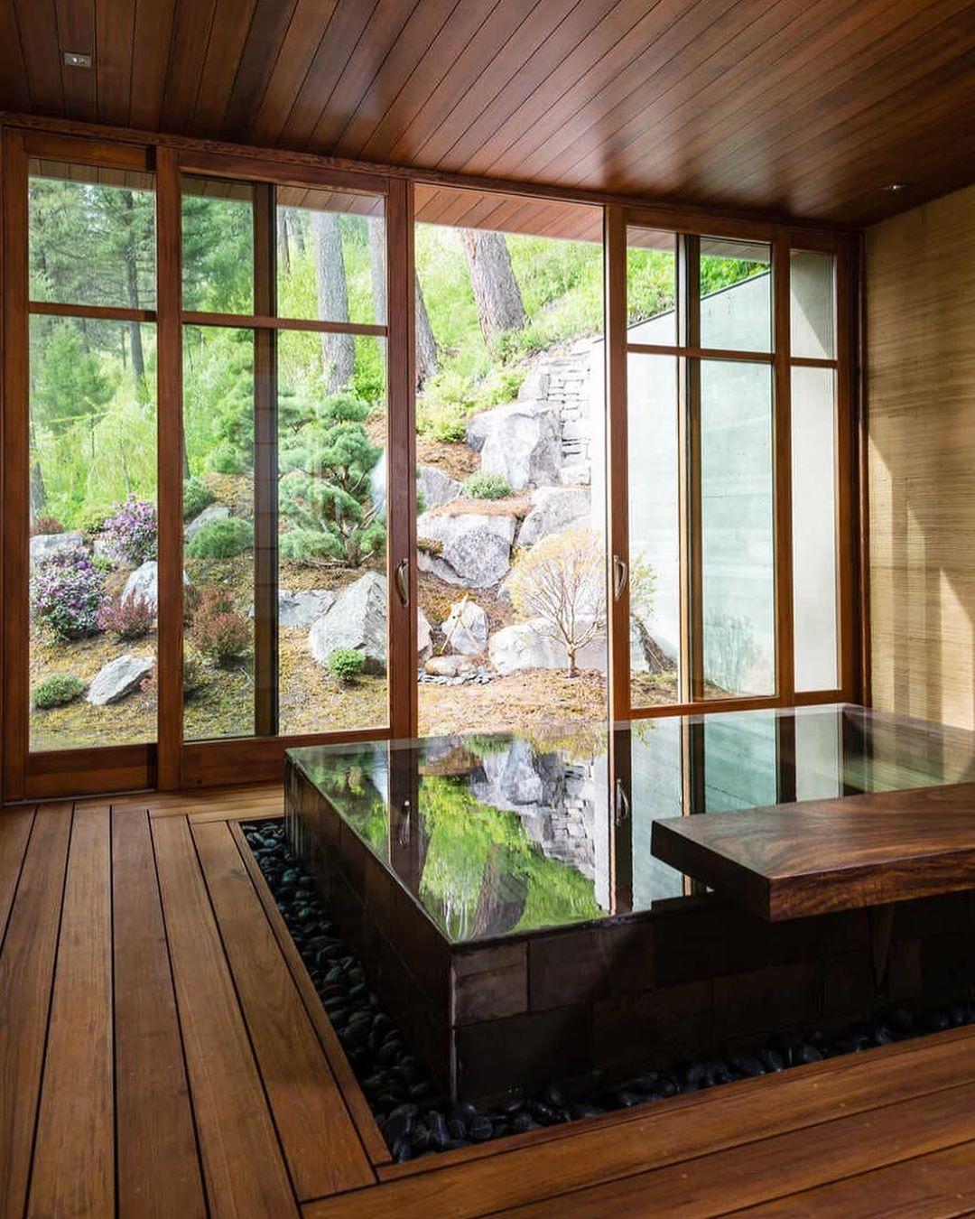 Mi Piace 398 Commenti 2 Decors Designe Decorsdesigne Su Instagram Whitefish Poolhouse By Cushing Japanese Bath House Indoor Hot Tub Japanese House