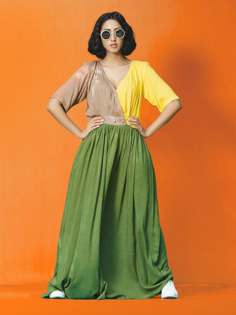 Brown yellow green rayon cotton long maxi the loom western wear