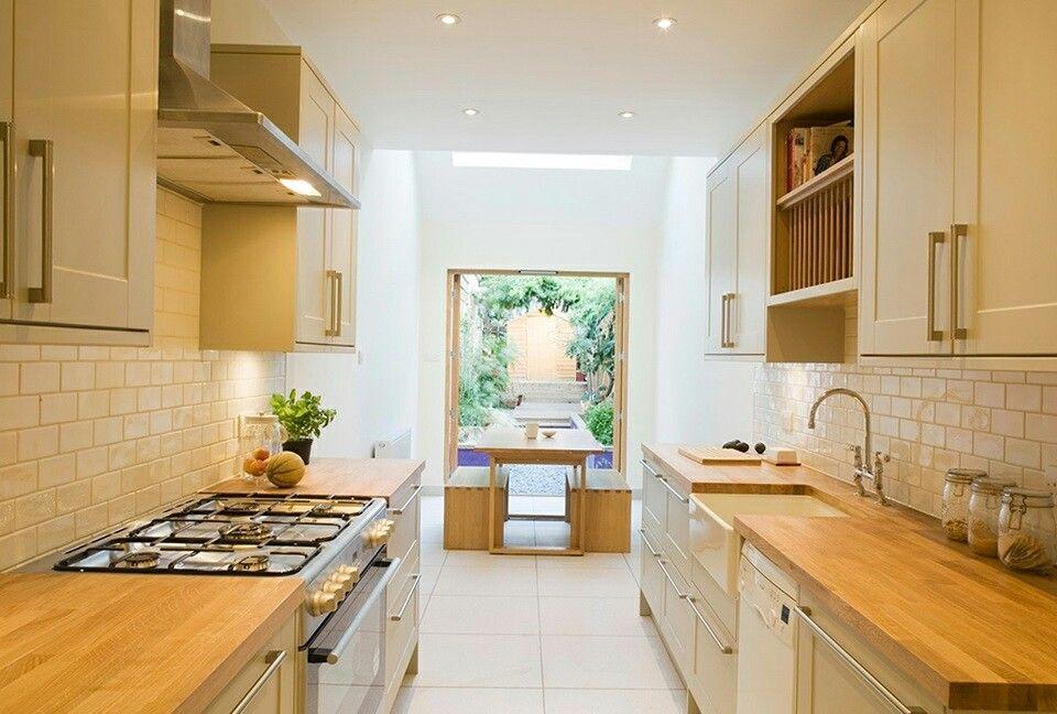 long narrow kitchen with patio doors