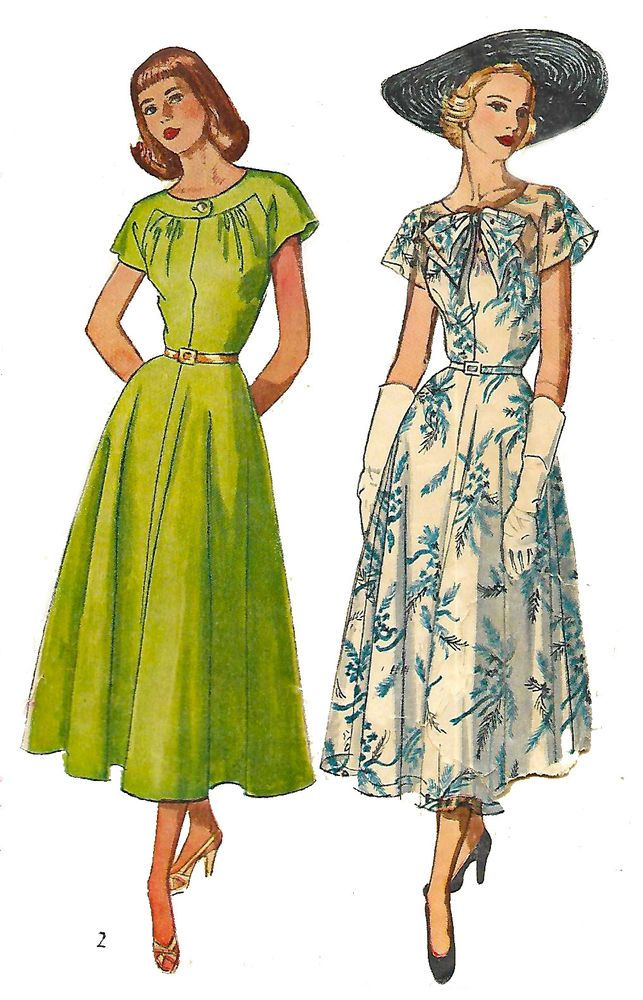 "Vintage 1940/'s Sewing Pattern Summer Dress Tea Dress Rare Bust 34/"" WWII"