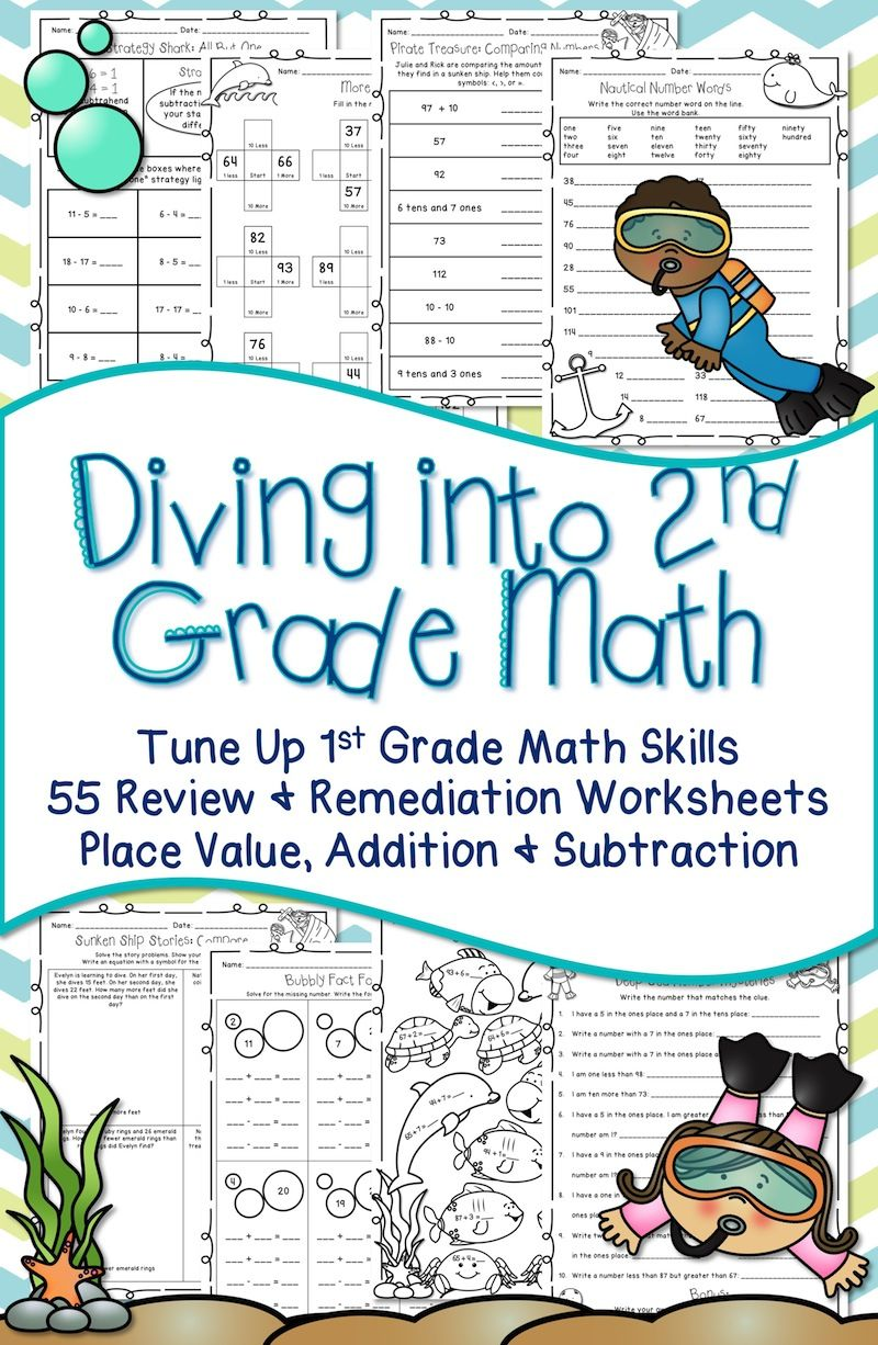 50% OFF FOR THE FIRST 48 HOURS. Beginning of the Year Second Grade: Review first  grade math skills with 55 printab…   2nd grade math [ 1226 x 800 Pixel ]