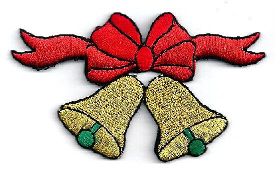 CHRISTMAS BELLS & BOW EMBROIDERED IRON ON APPLIQUE PATCH