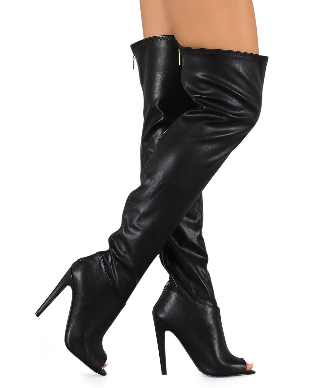 78ae62cf479b New-Women-Qupid-Interest-118-Leatherette-Peep-Toe-Thigh-High-Zip-Stiletto- Boot