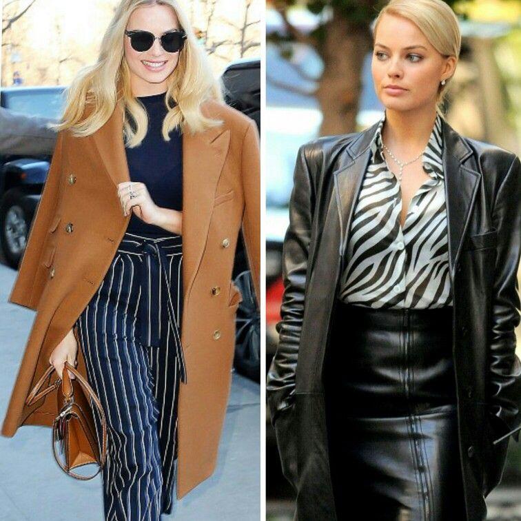 Quando o estilo da Margot Robbie me encanta completamente!💎 O primeiro é uma combinação navy com casaco e bolsa, caramelo. E o segundo, um mix poderoso de couro com animal print de zebra.  Ambos são muito fashion e sofisticados, com lindas cores!✨#glam #margotrobbie #creative #fashion #style