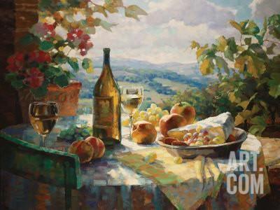 STILL LIFE ART PRINT Chardonnay Leon Roulette