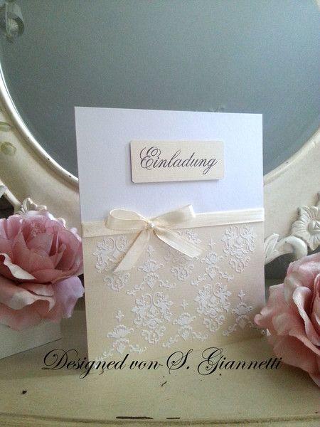 Einladungskarte Einladung Hochzeit 3d Shabby Creme