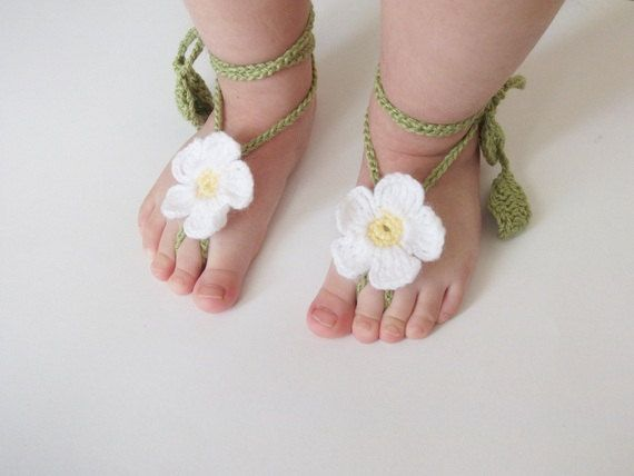 Daisy Baby Lace Sandals-Crochet Baby Barefoot Sandals-Beach Anklet ...