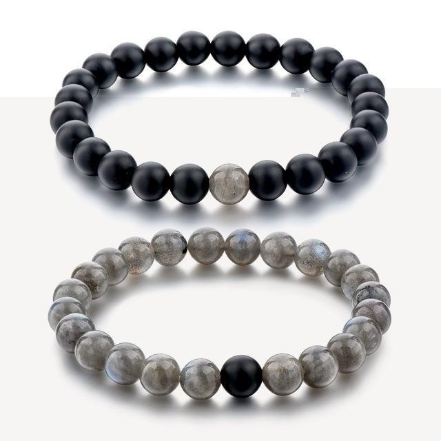 2 pcs//set charme pierre naturelle Couple Bracelet Fashion Jewelry amant cadeau perles