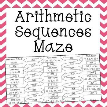 Arithmetic Sequences Maze Worksheet With Images Arithmetic