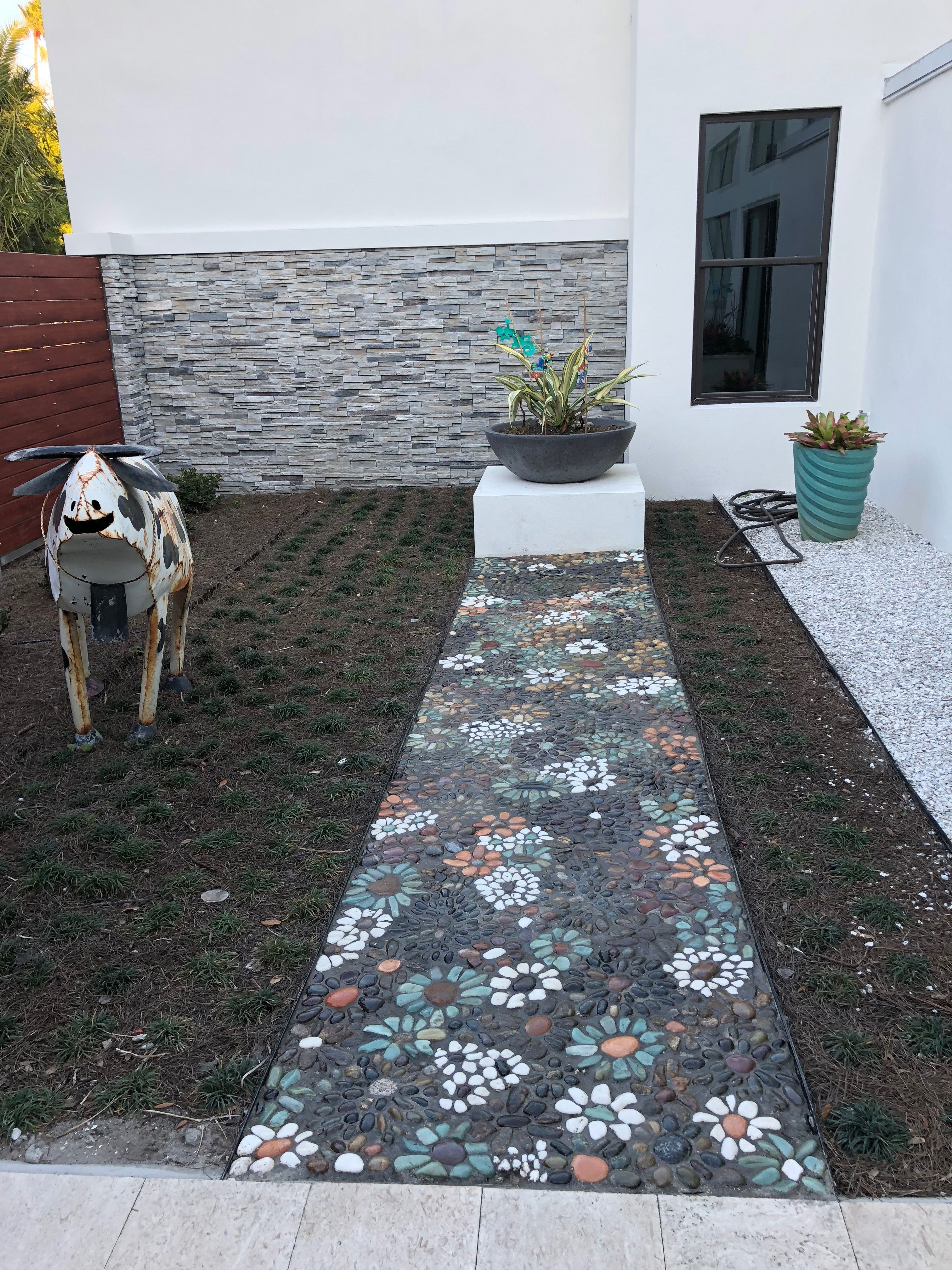 Just Finished Sealing The Pebble Stone Mosaic Walkway I Am Really Pleased With The Results Patio Stones Stone Backyard Outdoor Walkway