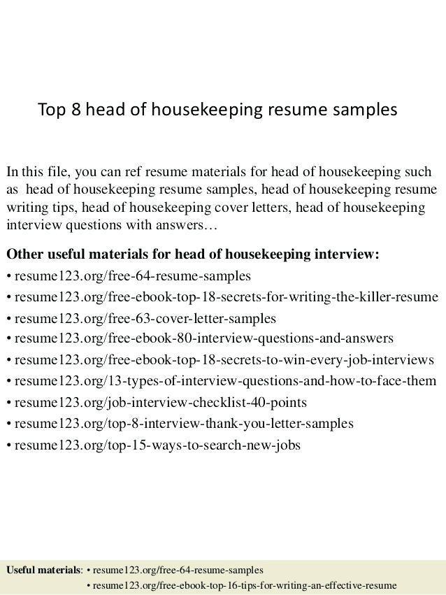 resume examples housekeeping housekeeping resume skills ...