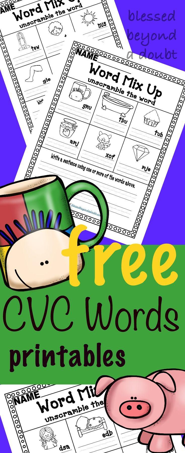 FREE CVC Word Worksheets Unscramble the CVC word