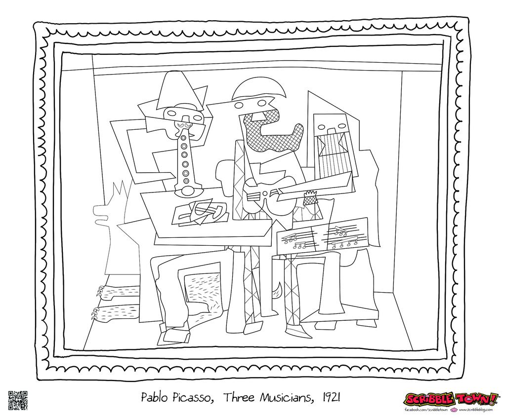 Three Musicians - Picasso | Famous painting coloring pages ...