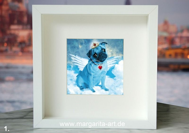 Animals MINIS - 1 Mops Engel Bild aus 2 zur Wahl von Art & Design aus Hamburg auf DaWanda.com