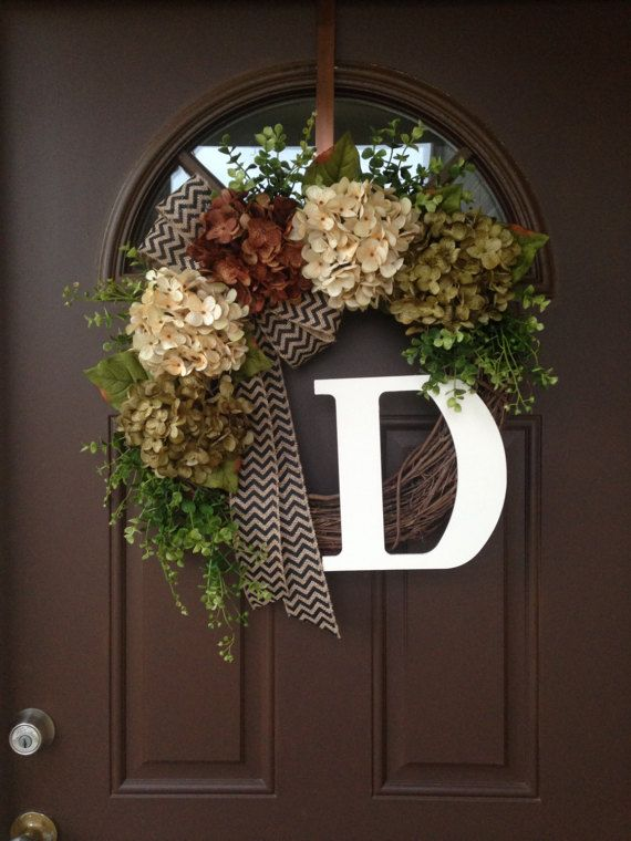 Monogram Everyday Wreath For Front Door   Rustic Grapevine Wreath With  Burlap Bow  Hydrangea Year