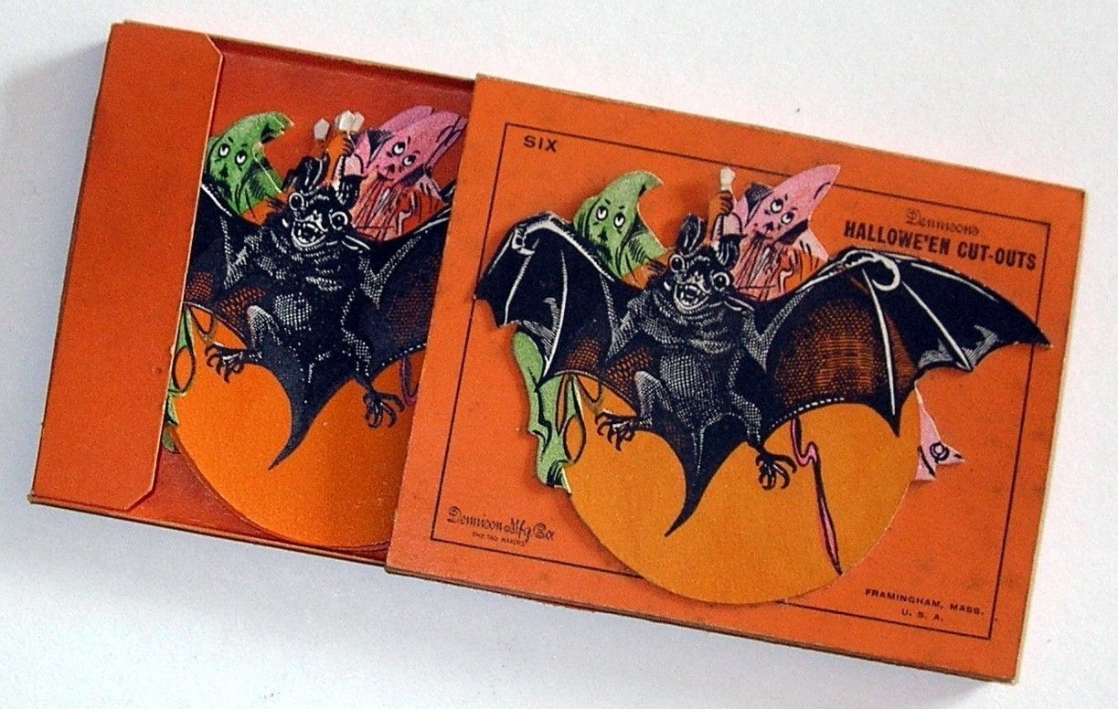 vintage halloween5 diecuts dennison bat ghosts with package 1920s very rare ebay