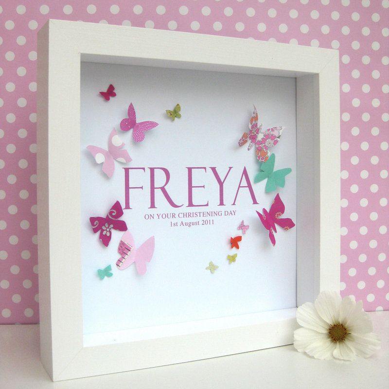 Personalised Baby Girl Butterfly Framed Art | Butterfly pictures ...