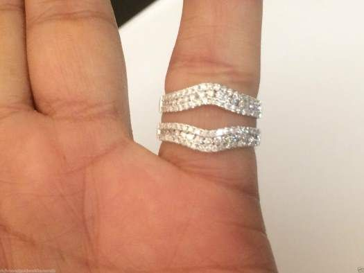 14k White Gold 3 Row Solitaire Enhancer Diamond Ring Guard Wedding