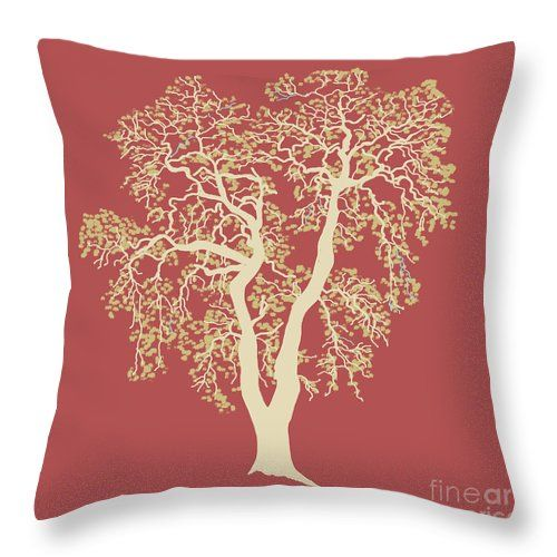 Oak Tree Throw Pillow featuring the painting Oak Tree On Red by Irene Irene Art. www.ireneireneart.com