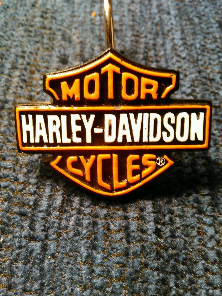 Harley Davidson Motor Cycle Shower Curtain Hooks Set Of 12 HarleyDavidson