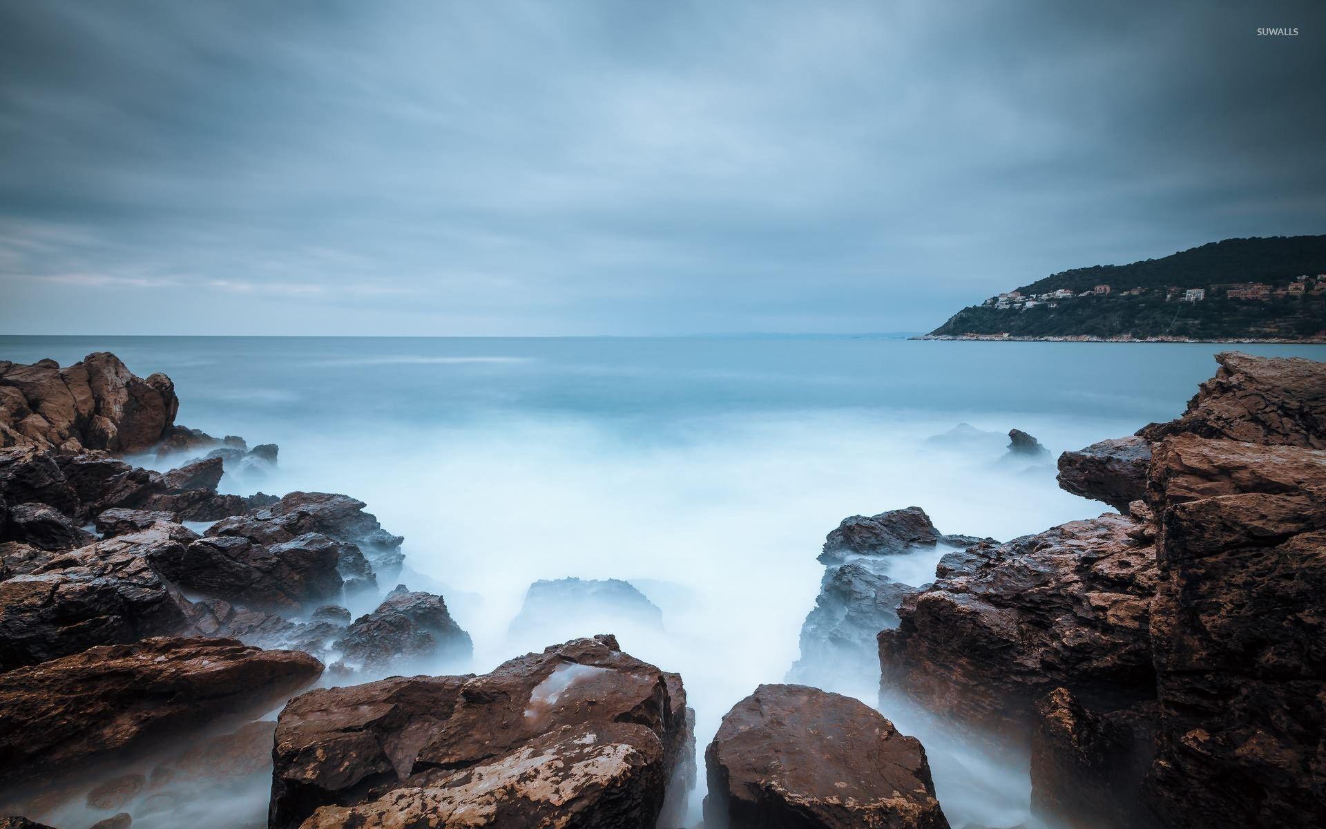Rocky Ocean Shore Mystic Ocean Water At The Rocky Shore Wallpaper Beach Rocky Shore Ocean Wallpaper Ocean Shores