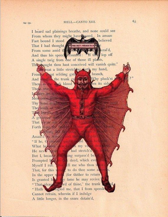 """""""El Diablo viste de rojo"""". Impresión en página del libro El Infierno de Dante. http://iglesiadesatan.com/"""