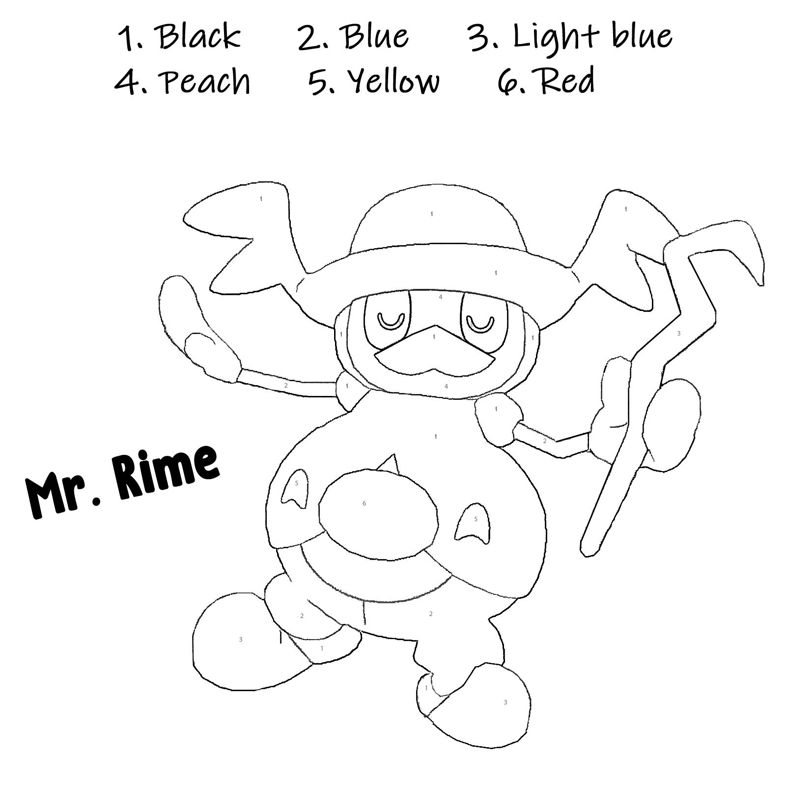 Mr Rime Coloring Page Color By Number Pokemon Pokemon Coloring Pages Color