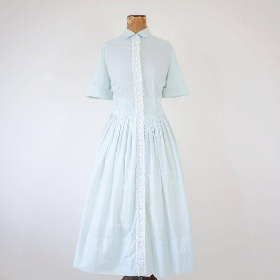 f9fe2a5b6a Vintage 1950s dress   light pastel green blue   50s shirtwaist day dress  L Aiglon M   L
