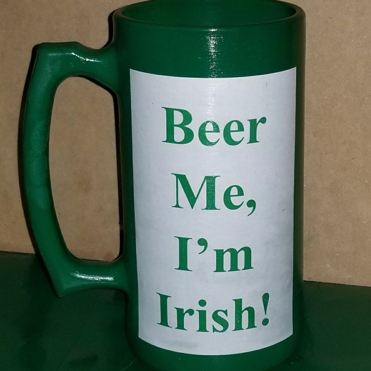 Hand Painted Green Beer Mug Personalized with BEER ME, I'm