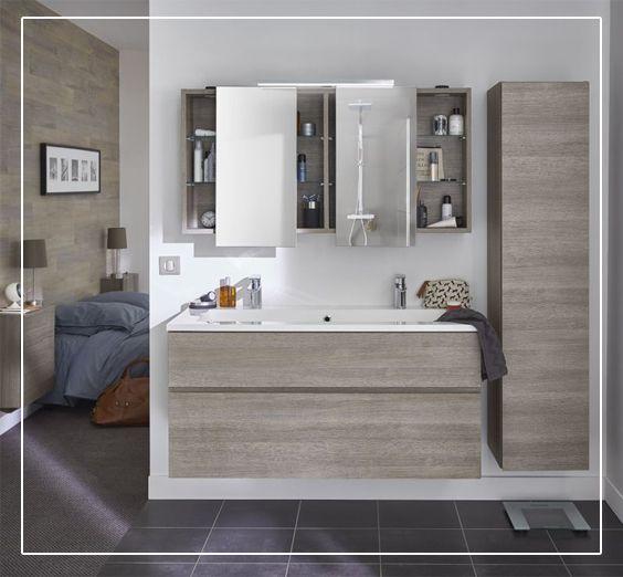 pratique et design ce meuble couleur ch ne clair calao et sa grande vasque donneront votre. Black Bedroom Furniture Sets. Home Design Ideas