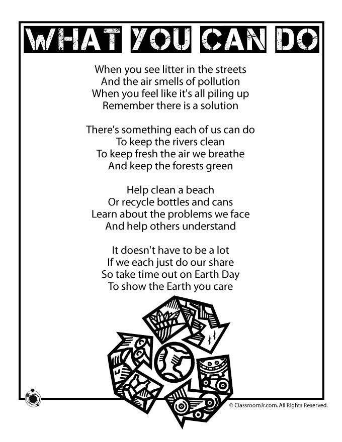 Earth day poem  EarthSpace Science  Pinterest  Kids poems Nu