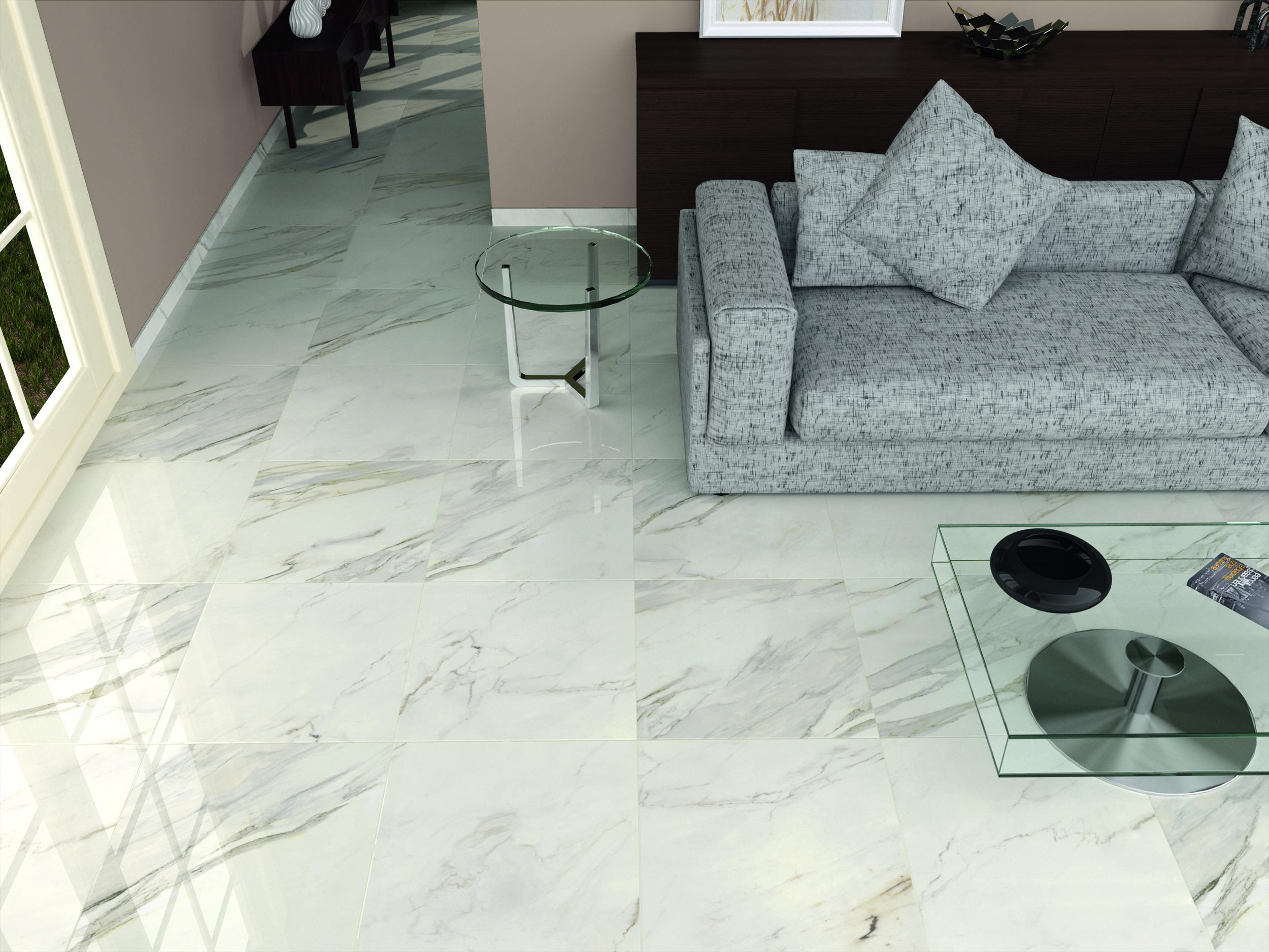 High gloss white/grey floor tiles in 2019 Tile floor