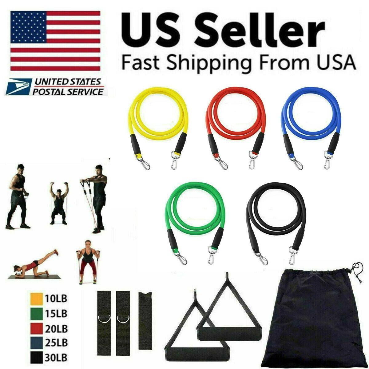 11PCS Resistance Bands Workout Exercise Crossfit Training Tubes  Fitness Yog Set