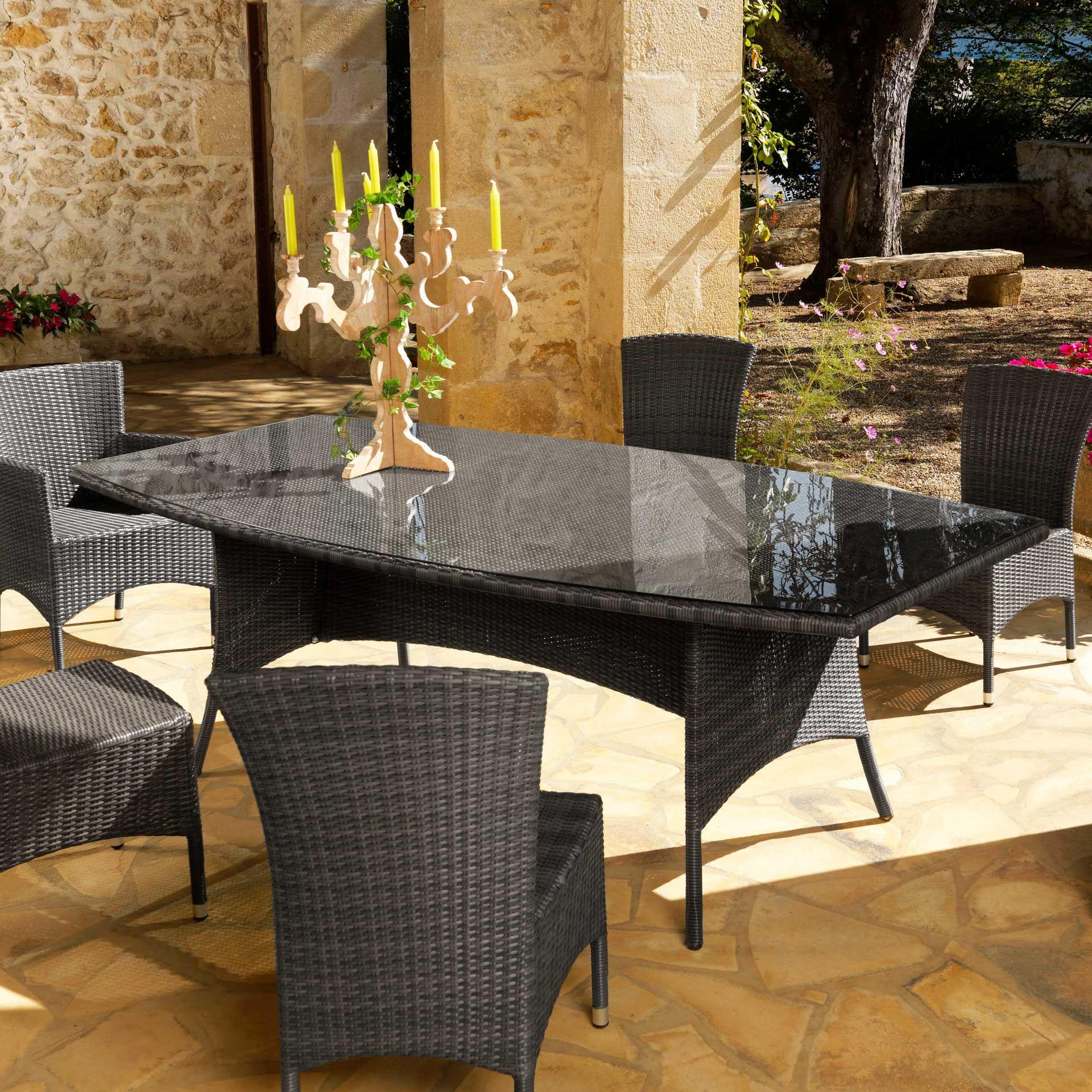Salle A Manger De Jardin En Resine Tressee table de jardin résine tressée 220x110cm lotus proloisirs