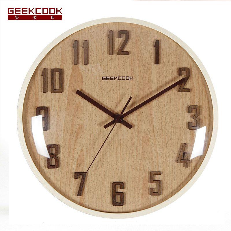 high quality 31.5cm wood glass modern design 3d digital wall clock ...