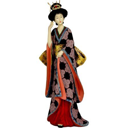 14 inch Geisha Figurine with Ivory Flower Sash, Multicolor