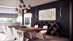 rustikaler esstisch coole pendelleuchten ausgefallene regale geometrische stühle