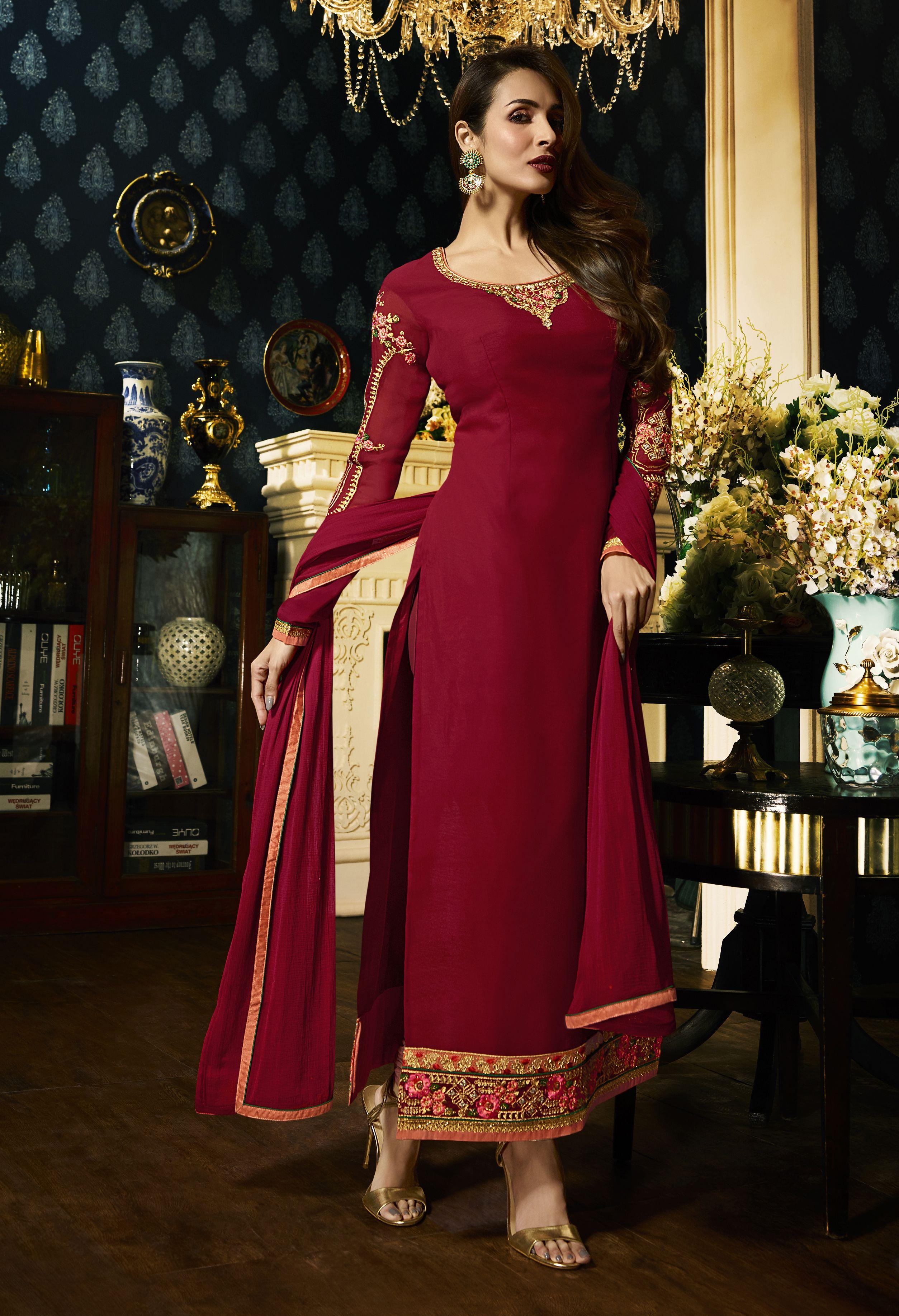 cad87233d8 Malaika Arora Red Embroidered Designer Salwar Suit Look stunningly  beautiful in this Malaika Arora Khan red faux georgette floor length salwar  suit.