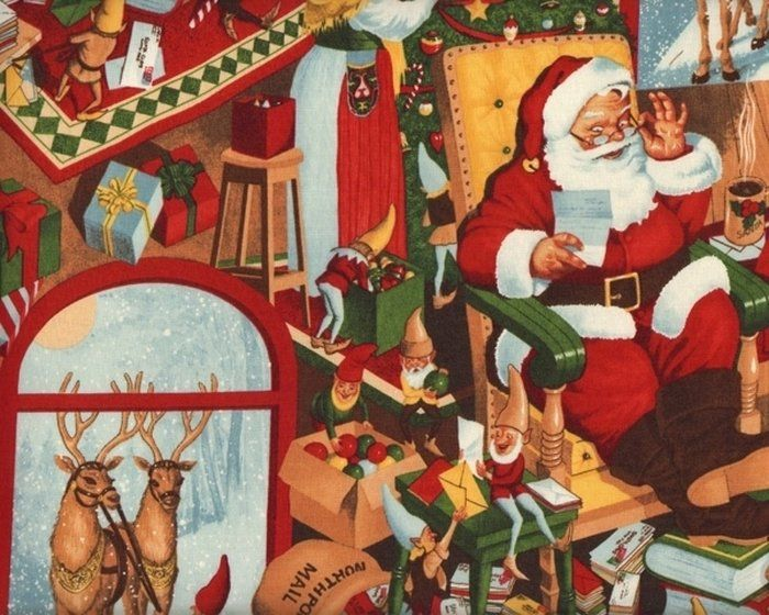 patchworkstoff christmas time beim weihnachtsmann zu haus