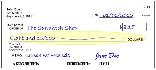 How To Write A Check Step By Step With Pictures 4 Writing Out The Amount Writing Checks Writing Life Skills