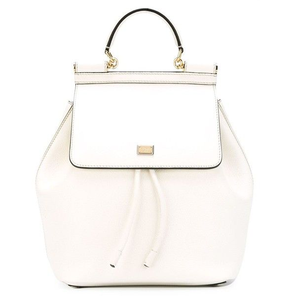 Dolce & Gabbana 'Sicily' backpack (107.945 RUB) ❤ liked on Polyvore featuring bags, backpacks, white, real leather backpack, leather drawstring bag, genuine leather backpack, backpacks bags and leather knapsack
