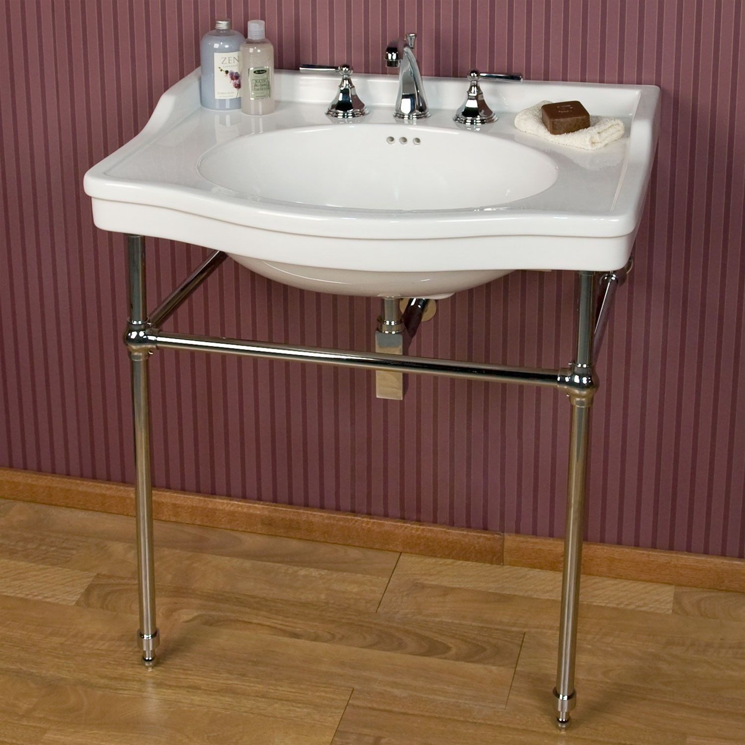 Cierra Large Porcelain Console Sink with Brass Stand. Cierra Large Porcelain Console Sink with Brass Stand   Consoles